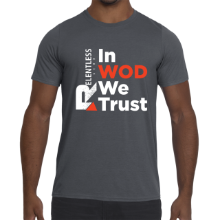 In WOD We Trust Performance T-Shirt Charcoal Front